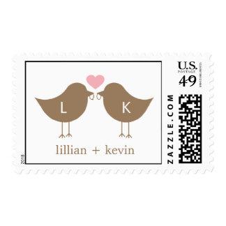 Monogram Birds Postage Stamp - Pink/Brown