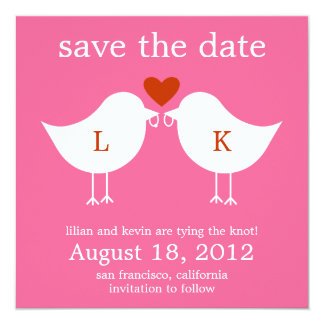 """Monogram Birds Save The Date Card - Hot Pink 5.25"""" Square Invitation Card"""