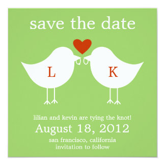 """Monogram Birds Save The Date Card - Lime 5.25"""" Square Invitation Card"""