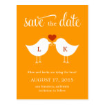 Monogram Birds Save The Date Card Post Card