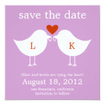 Monogram Birds Save The Date Card - Purple Personalized Announcements