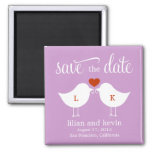 Monogram Birds Save The Date Magnet Refrigerator Magnet
