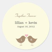 Monogram Birds Wedding Favor Sticker - Latte