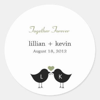 Monogram Birds Wedding Favor Sticker - Sage
