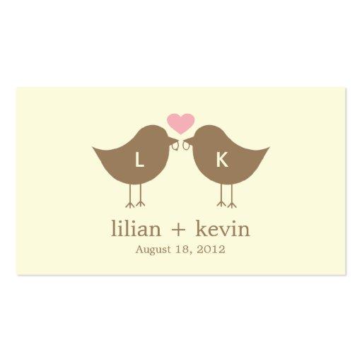 Monogram Birds Wedding Favor Tags - Latte Business Cards