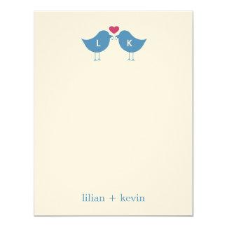 "Monogram Birds Wedding Flat Thank You Card 4.25"" X 5.5"" Invitation Card"