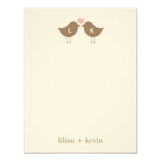 "Monogram Birds Wedding Flat Thank You Card - Latte 4.25"" X 5.5"" Invitation Card"