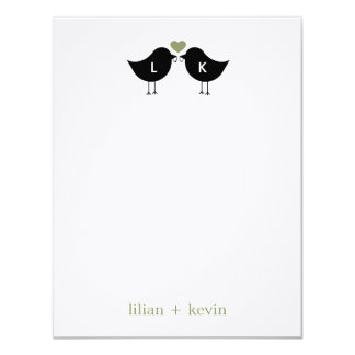 Monogram Birds Wedding Flat Thank You Card - Sage Personalized Announcements