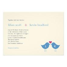 Monogram Birds Wedding Invitation