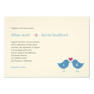 "Monogram Birds Wedding Invitation 5"" X 7"" Invitation Card"