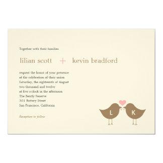 "Monogram Birds Wedding Invitation - Latte 5"" X 7"" Invitation Card"