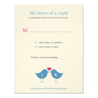 Monogram Birds Wedding RSVP/Response Card Personalized Announcement