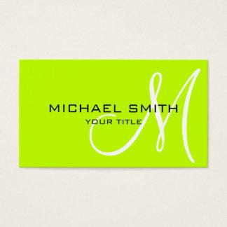 Monogram Bitter lime color background Business Card