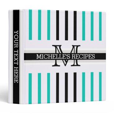 Beach Themed Monogram Black Amazonite Stripes Pattern Recipes Binder