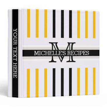 Beach Themed Monogram Black Amber Stripes Pattern Recipes Binder