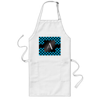Monogram black and blue checkers pattern long apron