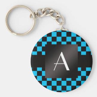 Monogram black and blue checkers pattern basic round button keychain