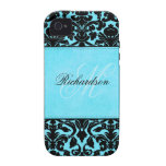 Monogram Black and Blue Damask iPhone 4 Vibe iPhone 4/4S Covers