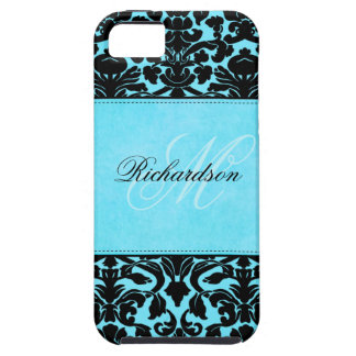 Monogram Black and Blue Damask iPhone 5 Vibe iPhone 5 Cases