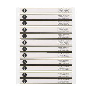 Monogram Black and Gold Border Wrap Around Label