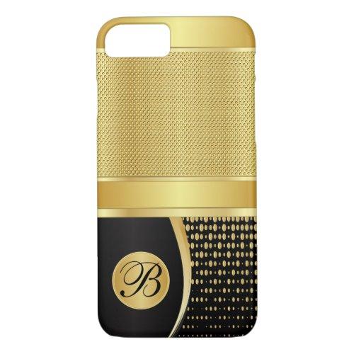 Monogram Black and Gold Metallic Mesh Phone Case