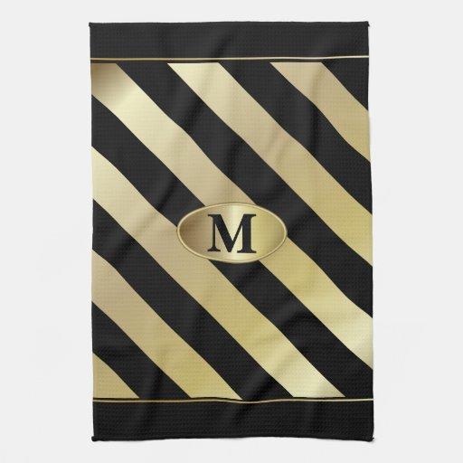 Monogram Black And Gold Stripes Hand Towel