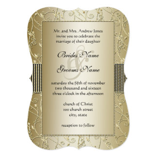 Monogram Black and Gold Swirl Wedding Card