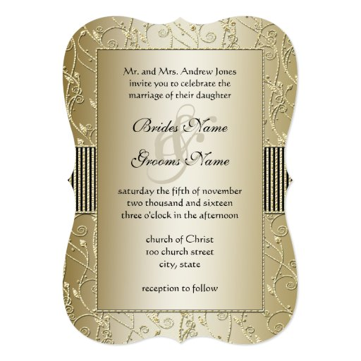 Monogram Black and Gold Swirl Wedding Personalized Invitations