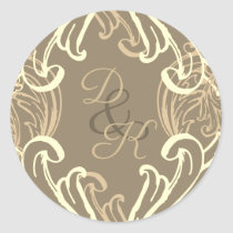 Monogram Black and Gold Vintage Invitation Classic Round Sticker