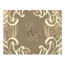 Monogram Black and Gold Vintage rsvp Postcard