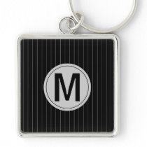 Monogram Black and Gray Masculine Stripes Keychain