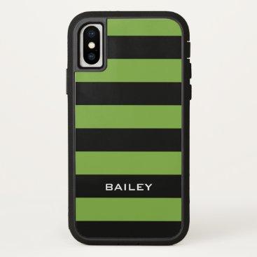Beach Themed Monogram. Black  and Green-ish Stripes. iPhone X Case