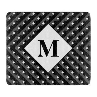 Monogram Black and Grey Angled lines Cutting Boards
