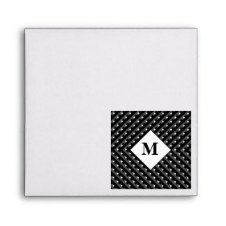 Monogram Black and Grey Angled lines Envelopes