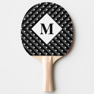 Monogram Black and Grey Angled lines Ping-Pong Paddle