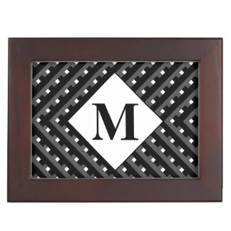 Monogram Black and Grey Angled lines Keepsake Box