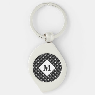 Monogram Black and Grey Angled lines Keychain