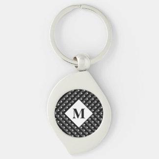 Monogram Black and Grey Angled lines Keychain