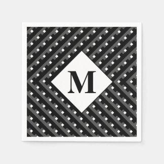 Monogram Black and Grey Angled lines Paper Napkins