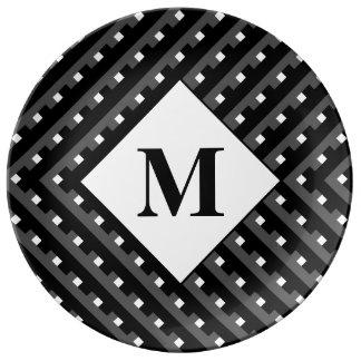 Monogram Black and Grey Angled lines Porcelain Plate
