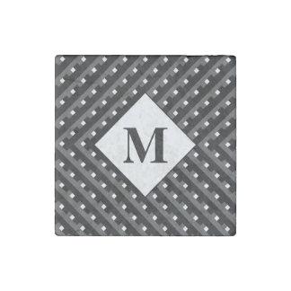 Monogram Black and Grey Angled lines Stone Magnet