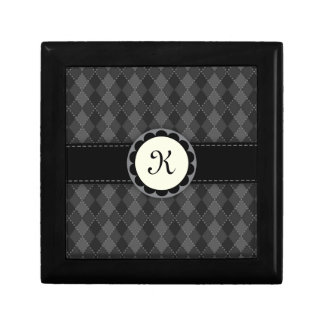 Monogram black and grey argyles gift box