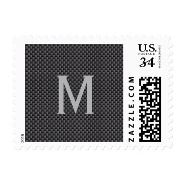 Beach Themed Monogram Black and Grey Carbon Fiber Polymer Postage