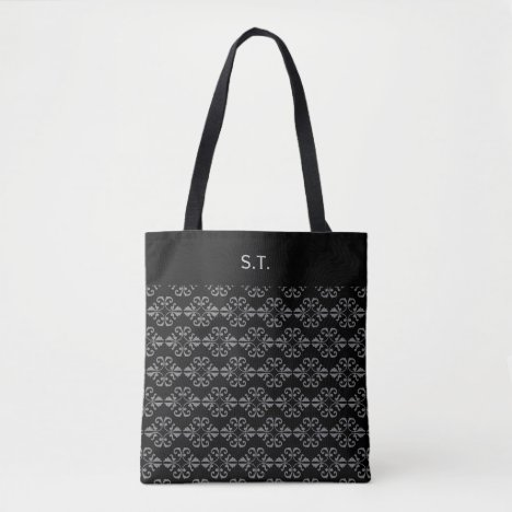 Monogram Black and grey damask Tote Bag