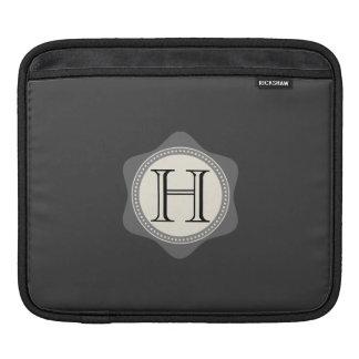 Monogram,Black and Grey iPad Sleeve