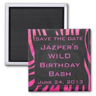 Monogram Black and Hot Pink Zebra Design 2 Inch Square Magnet
