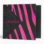 Monogram Black and Hot Pink Zebra Design 3 Ring Binder
