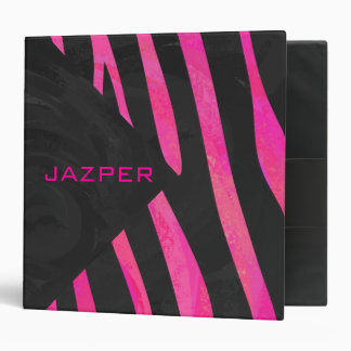 Monogram Black and Hot Pink Zebra Design 3 Ring Binder