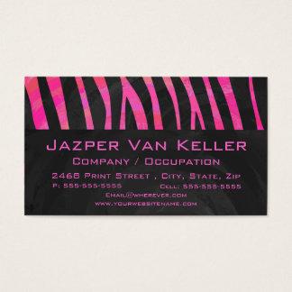 Monogram Black and Hot Pink Zebra Design Business Card