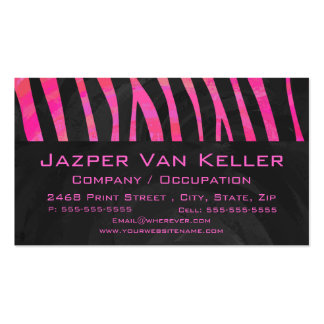 Monogram Black and Hot Pink Zebra Design Double-Sided Standard Business Cards (Pack Of 100)
